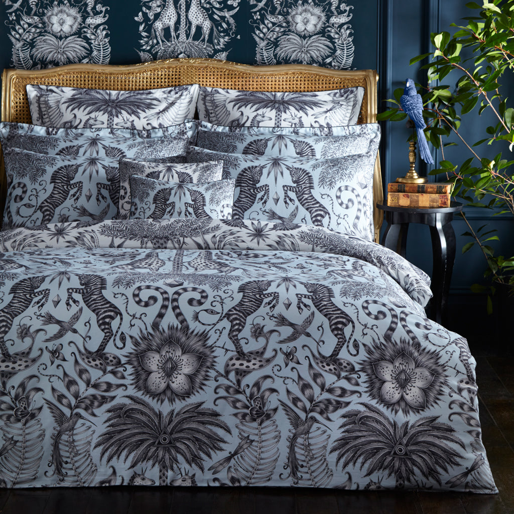 Zebras and giraffes adorn this beautiful bedding set designed by Emma J Shipley for Clarke & Clarke