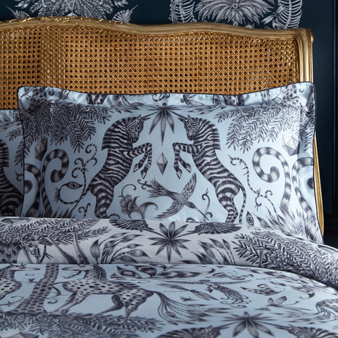 The Kruger Oxford Pillowcase features 2 unicorn zebras on a reversible pillow case, perfect for adding tropical design to your bedroom. Designed by Emma J Shipley for Clarke & Clarke
