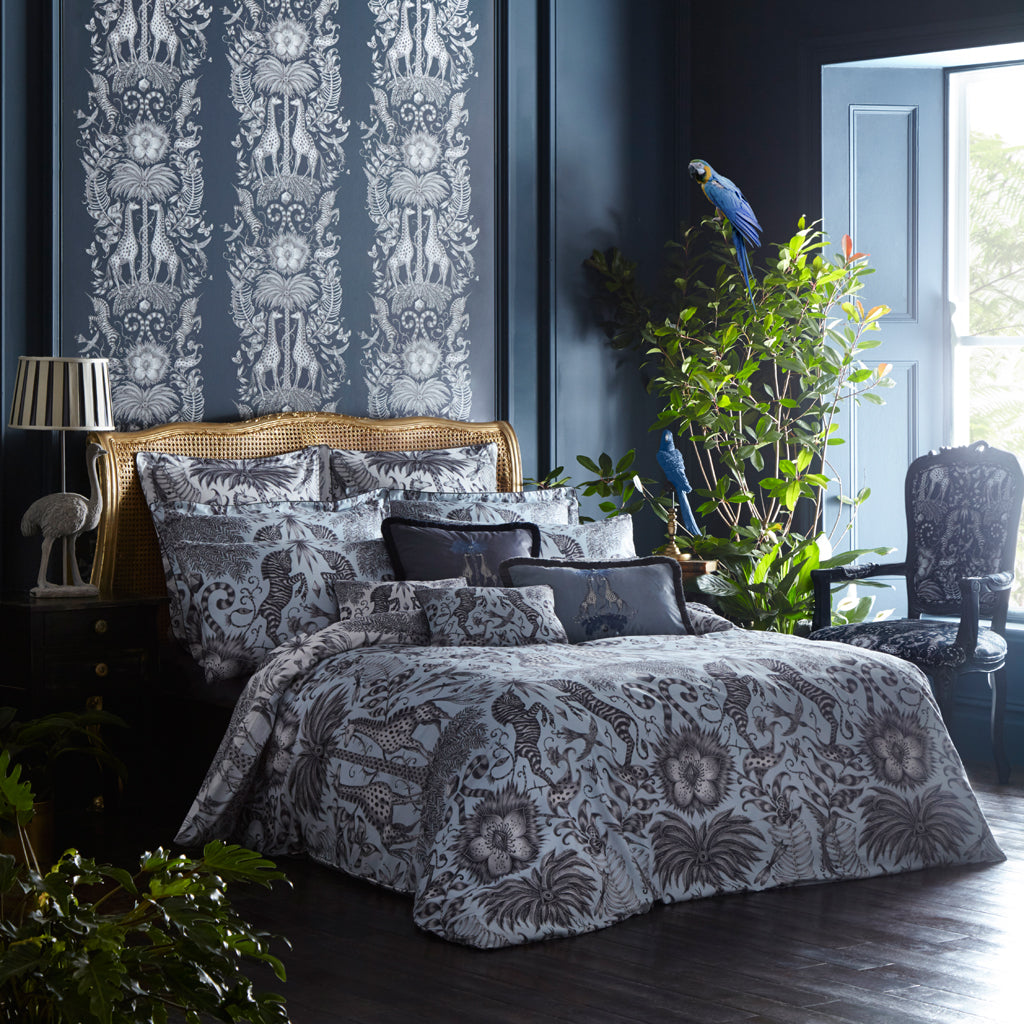 Tropical fantasy in the Kruger bedding set designed by Emma J Shipley for Clarke & Clarke