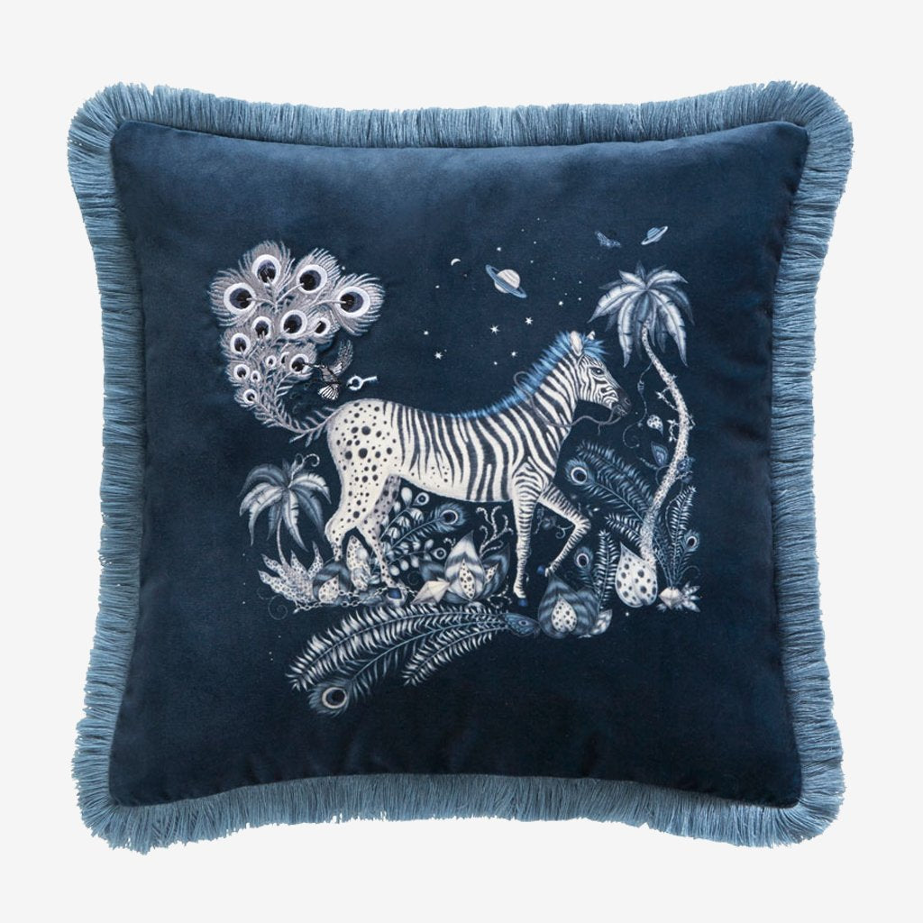 Emma J Shipley's embroidered Navy Velvet Cushion, is an exotic creation that will add a fantastical twist to your bed in an instant. Designed by Emma J Shipley x Clarke & Clarke for the new bedding range, it can be used on it's own to add a bold statement to any furniture or pair perfectly with other pillows and cushions