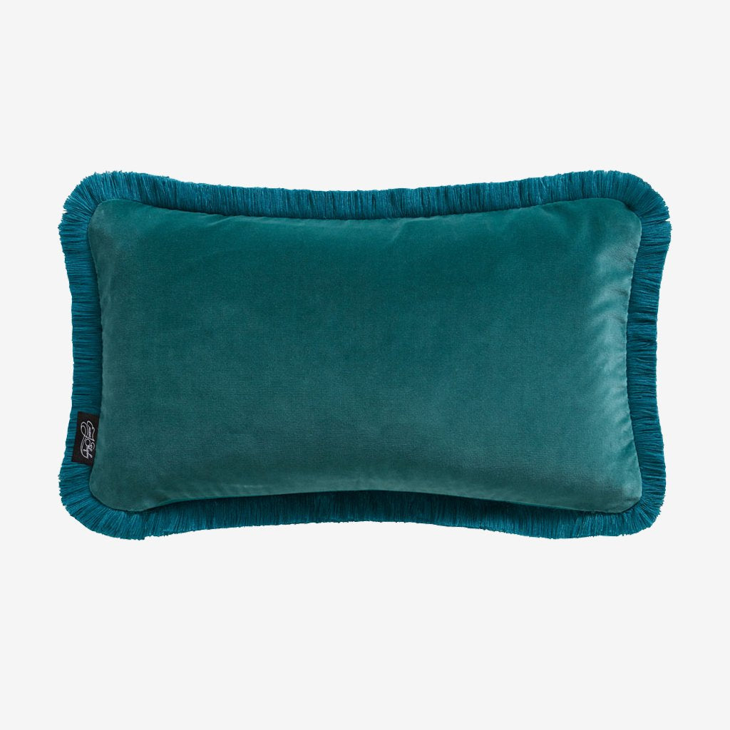 The reverse side of the Lynx velvet cushion which is a beautiful deep Teal colour backing which pairs perfectly with the front pink colour to create a really beautiful effect on the Lynx bed set.
