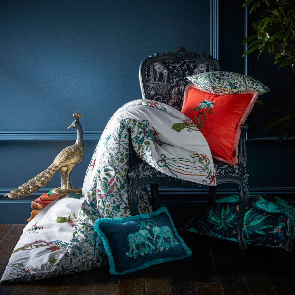 Make a statement with the Jungle Palms bedding, designed by Emma J Shipley for Clarke & Clarke