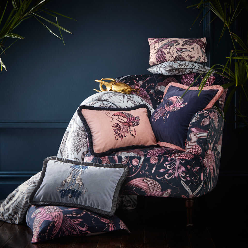 Exotic bedding featuring the Kruger design, hand drawn by Emma J Shipley for our bedding collection with Clarke & Clarke