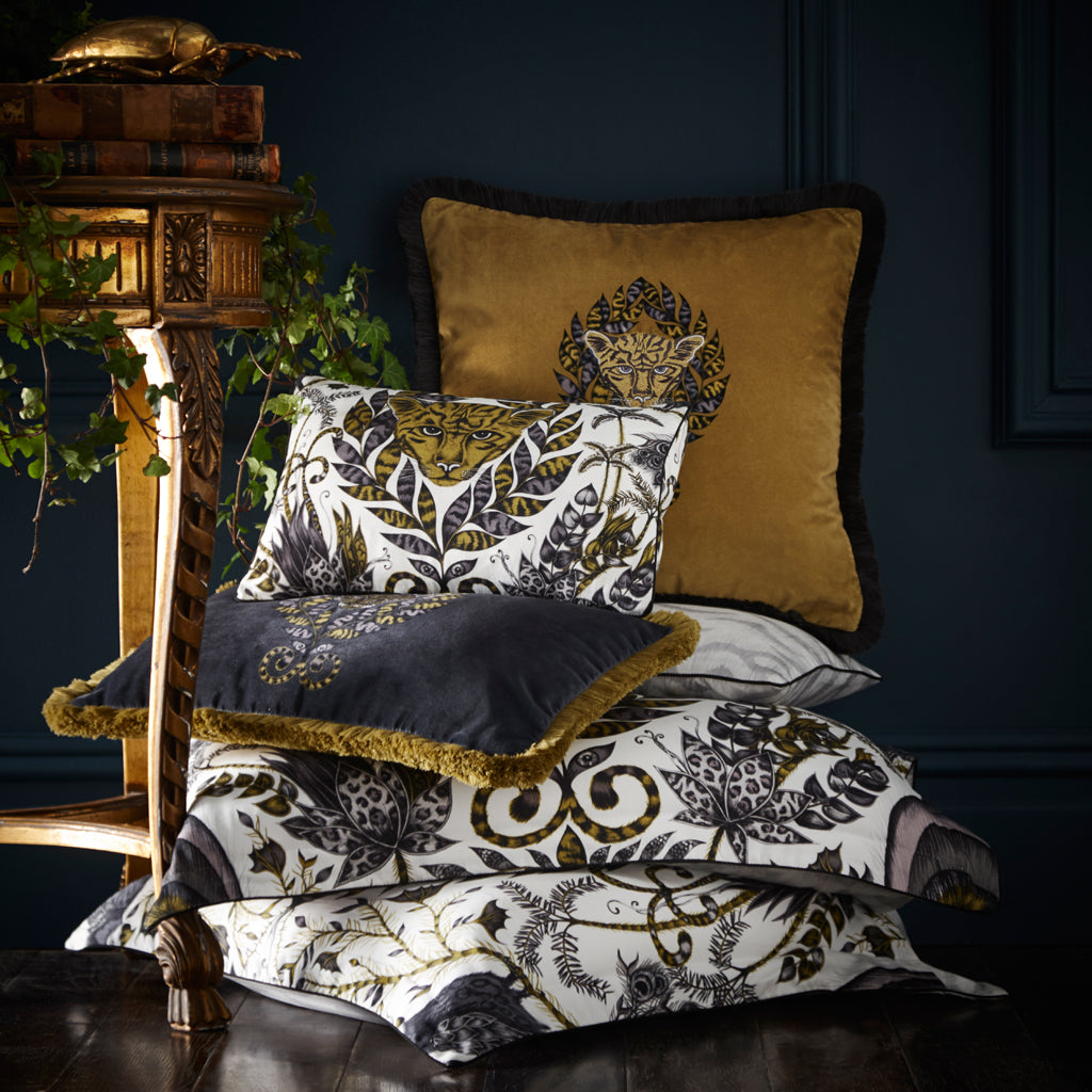 Emma J Shipley's Amazon design adorns the bedding set, perfect for a big interior statement