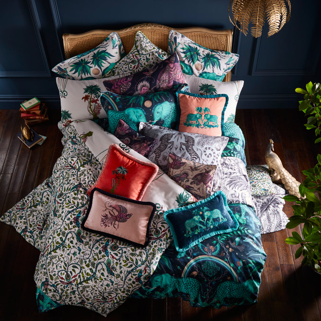 The Emma J Shipley for Clarke & Clarke bedding collection exudes tropical maximalism