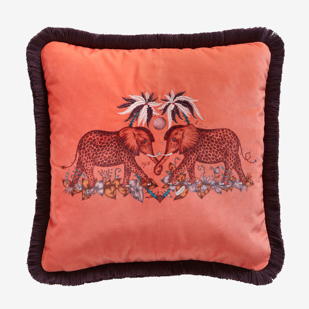 Zambezi Velvet Cushion - Flame