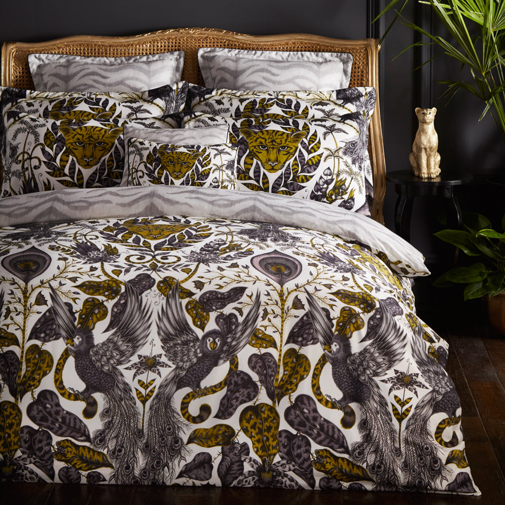 The tropical golden Amazon bedding in all its glory. Designed and hand drawn by Emma J Shipley for Clarke & Clarke