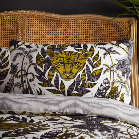 The curious jaguar of the Amazon pillowcase designed by Emma J Shipley for Clarke & Clarke