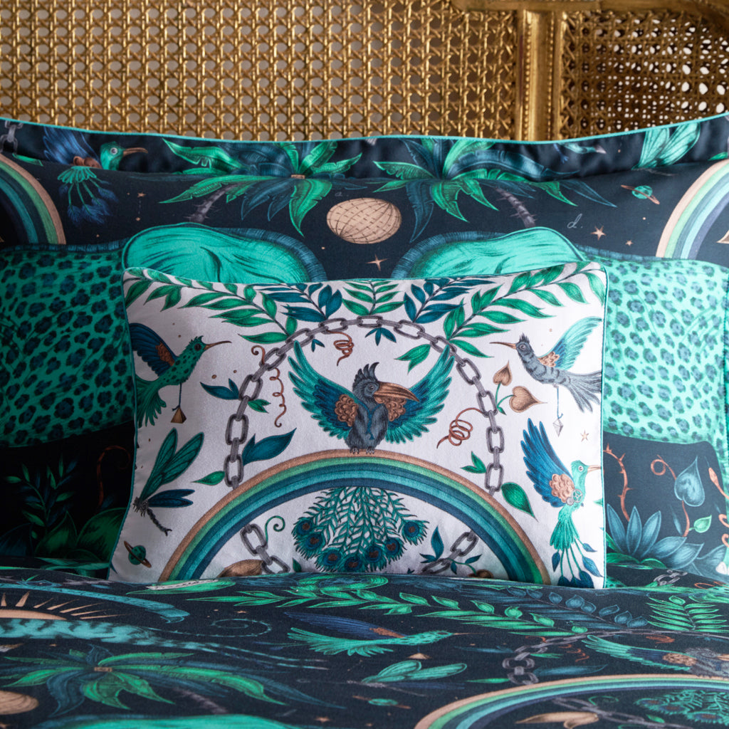 The Zambezi Boudoir Pillowcase features a safari scene hand drawn by artist Emma J Shipley for Clarke & Clarke