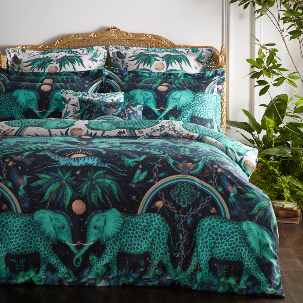 The wonderful Zambezi bedding set in teal by Emma J Shipley for Clarke & Clarke