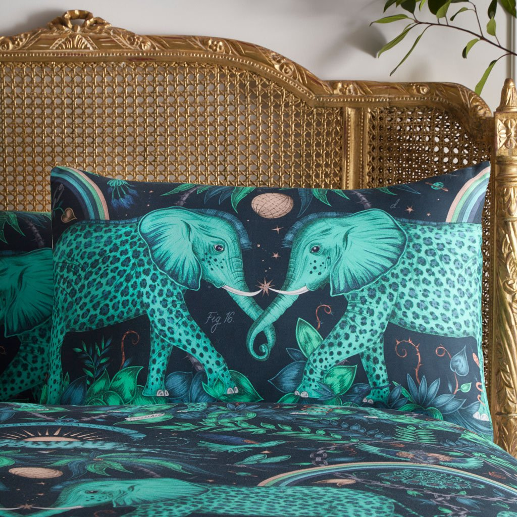 The hand drawn Zambezi design by Emma J Shipley adorns this pair of stand pillowcases, perfect for transforming a bedroom interior into a jungle paradise