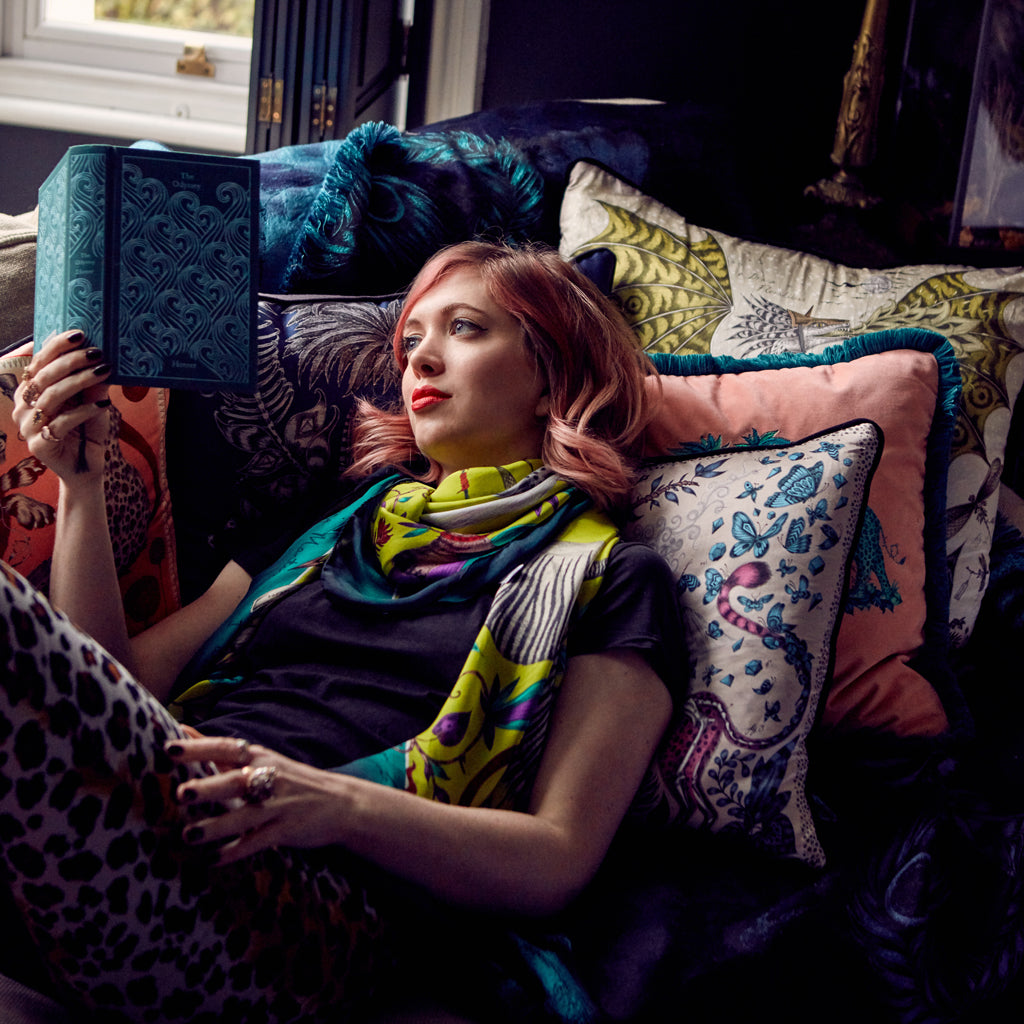 Emma J Shipley wearing the vibrant Protea Silk Chiffon Scarf in bright acid lime