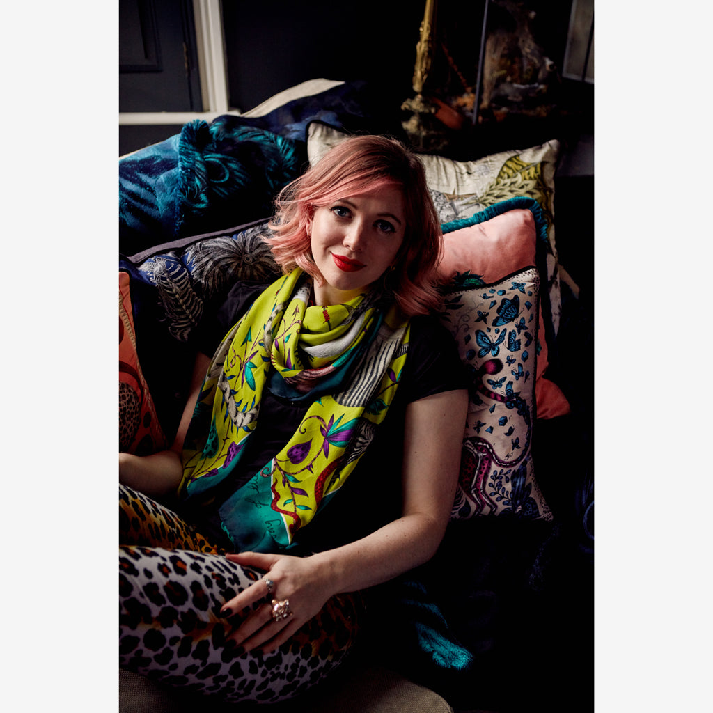 Emma J Shipley wearing the exquisite Protea Silk Chiffon Scarf in bright acid lime
