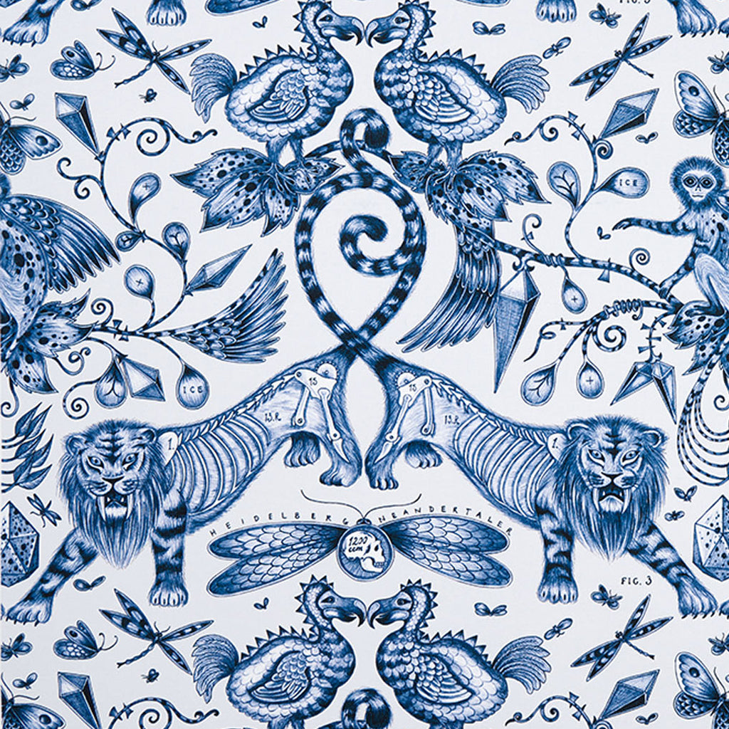 The Extinct design on our new range of cotton satin fabrics in collaboration with Clarke & Clarke