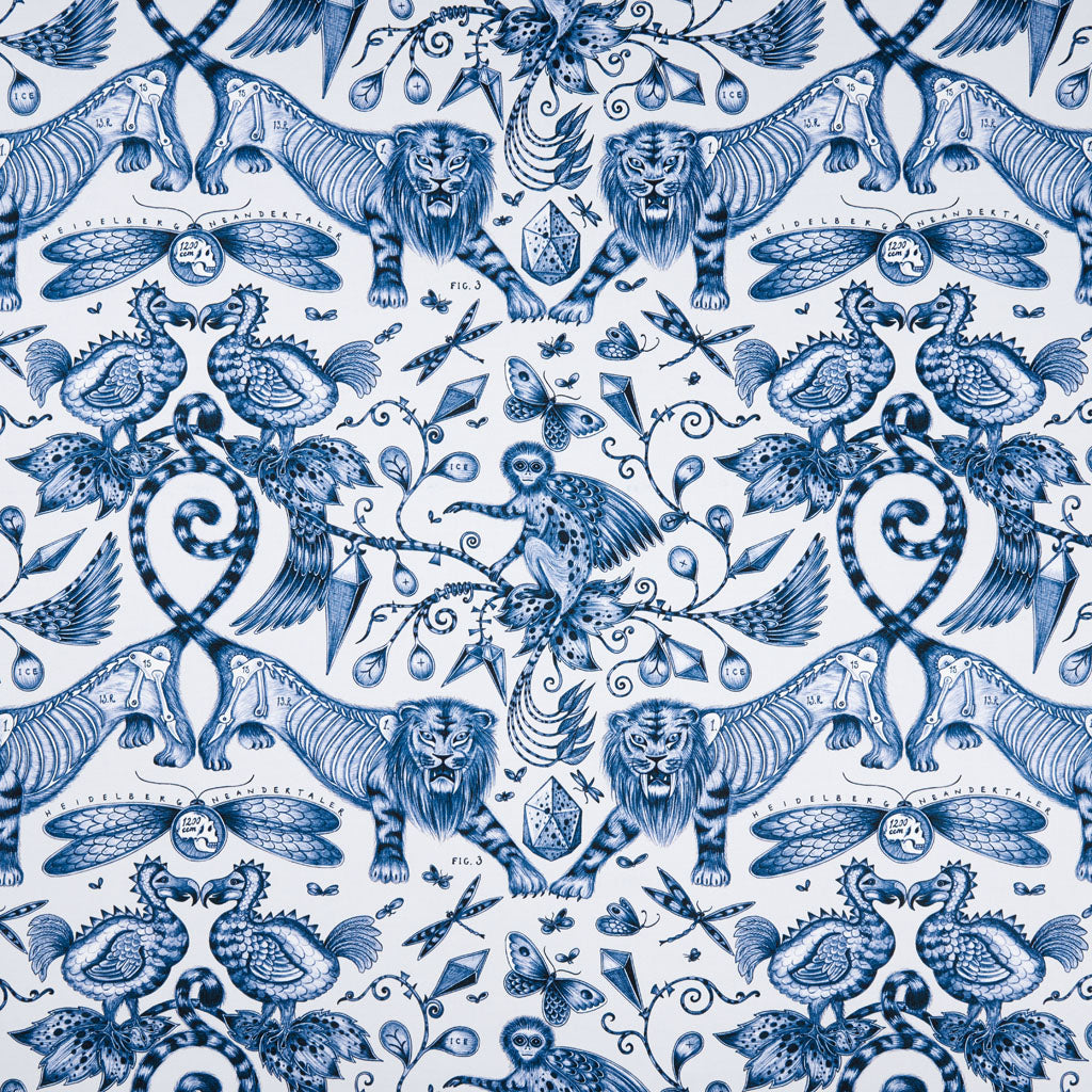 The Extinct design on our new range of cotton satin fabrics in collaboration with Clarke & Clarke features anatomical style illustration