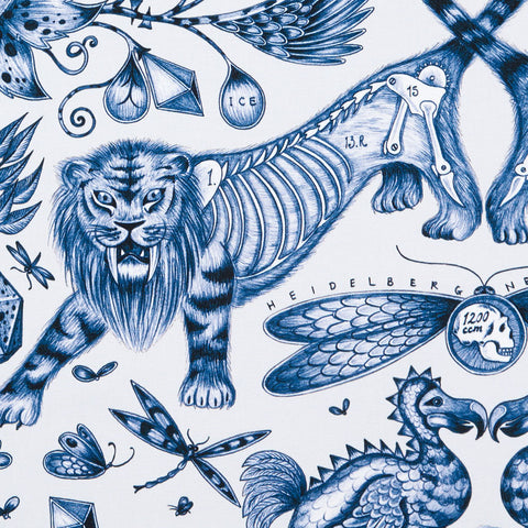 The exotically beautiful Extinct design on our new range of cotton satin fabrics for Emma J Shipley in collaboration with Clarke & Clarke