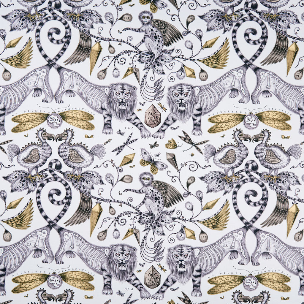 The Extinct design on our new range of cotton satin fabrics in collaboration with Clarke & Clarke, in the gold colour way