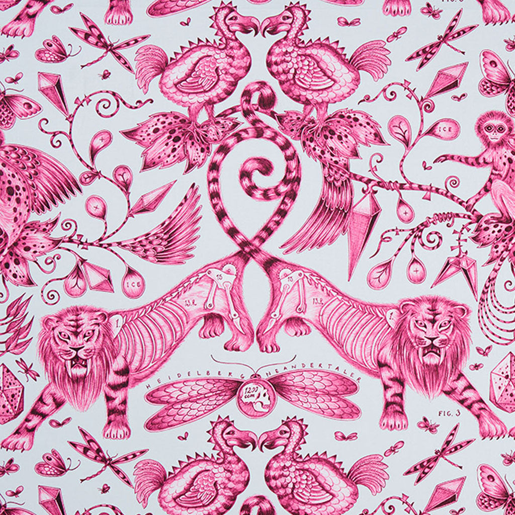 The luxurious and opulent Extinct design on our new range of cotton satin fabrics in collaboration with Clarke & Clarke in the magenta colour way