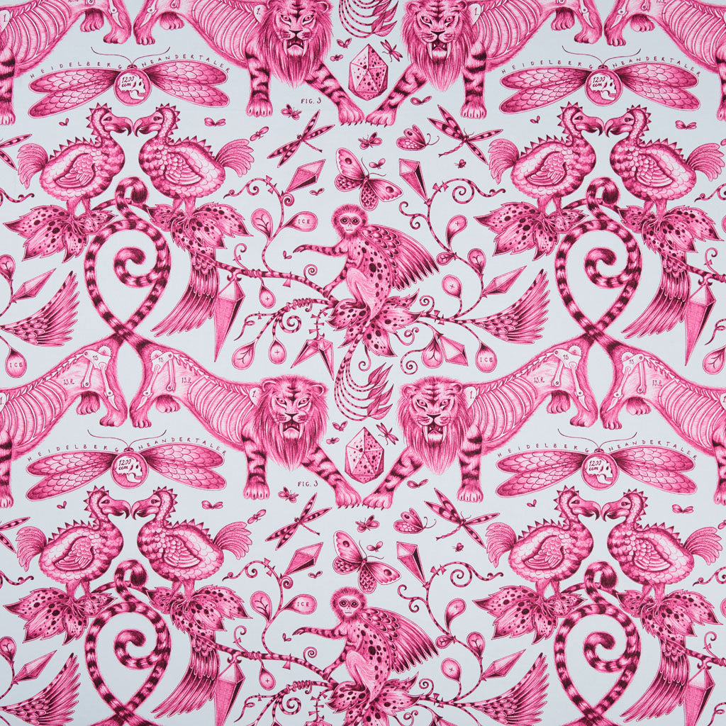 The captivatingly magical Extinct design on our new range of cotton satin fabrics in collaboration with Clarke & Clarke in the magenta colour way