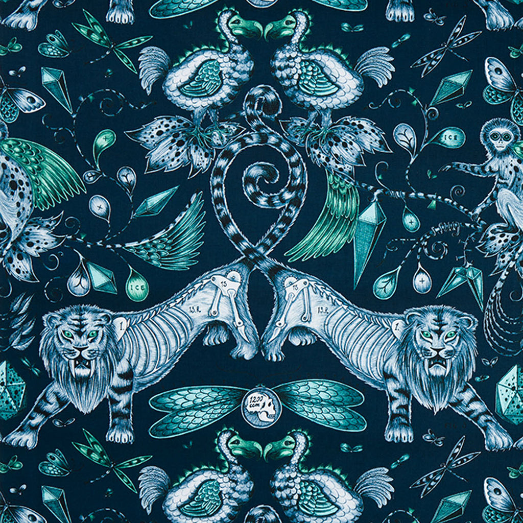 The captivating, magical Extinct design on our new range of cotton satin fabrics in collaboration with Clarke & Clarke in navy