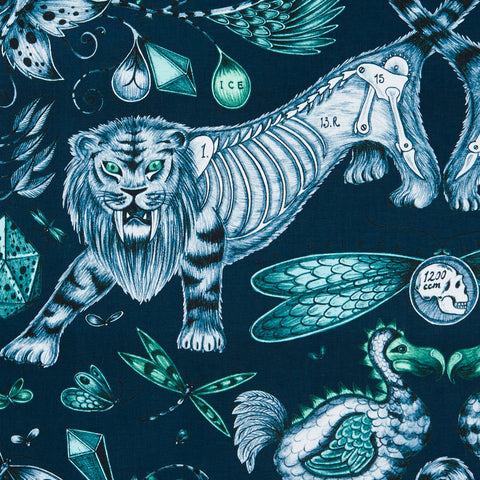 The maximalist, intricate Extinct design on our new range of cotton satin fabrics in collaboration with Clarke & Clarke in navy