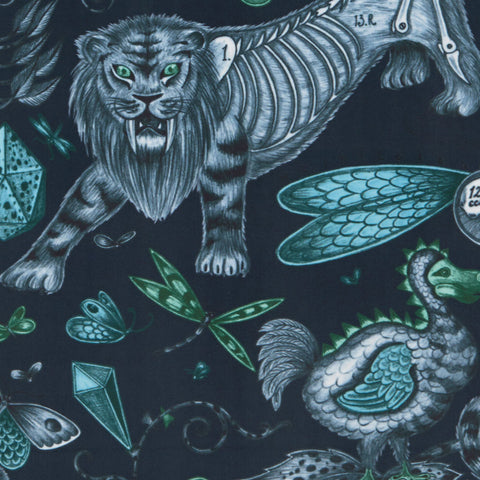 The sumptuous velvet dramatises our magical Extinct design on our new range of fabrics in collaboration with Clarke & Clarke