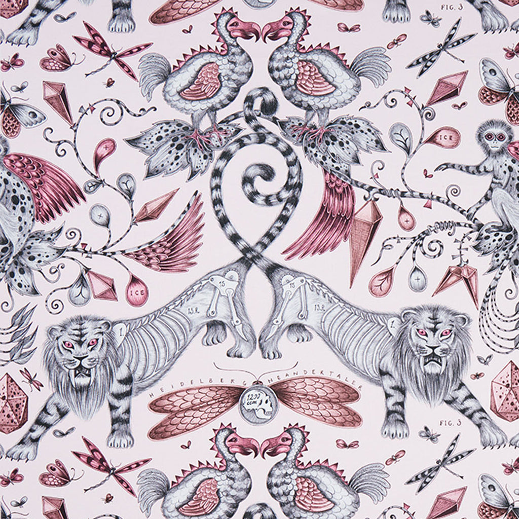 The luxurious Extinct design on our new range of cotton satin fabrics in collaboration with Clarke & Clarke in pink