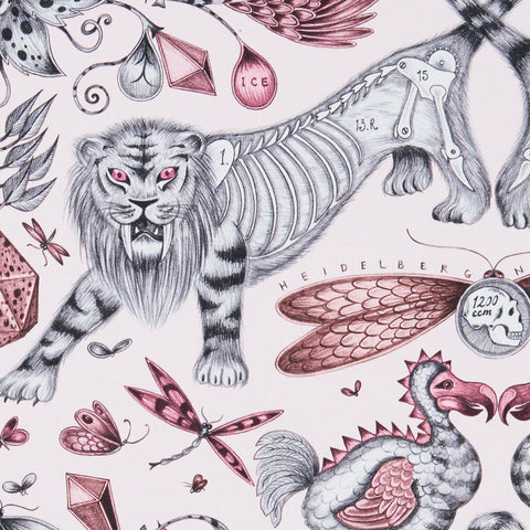 The maximalist, magical Extinct design on our new range of cotton satin fabrics in collaboration with Clarke & Clarke in pink