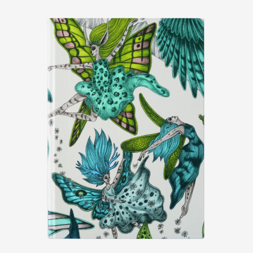 The enchanting fairies of the Elven design upon a silk lined A5 notebook designed by Emma J Shipley