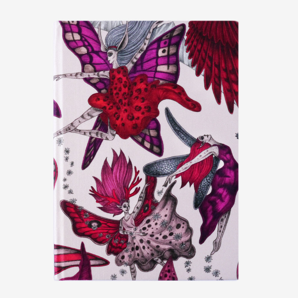 The beautiful pink, magenta and red Elven Silk Notebook designed by Emma J Shipley