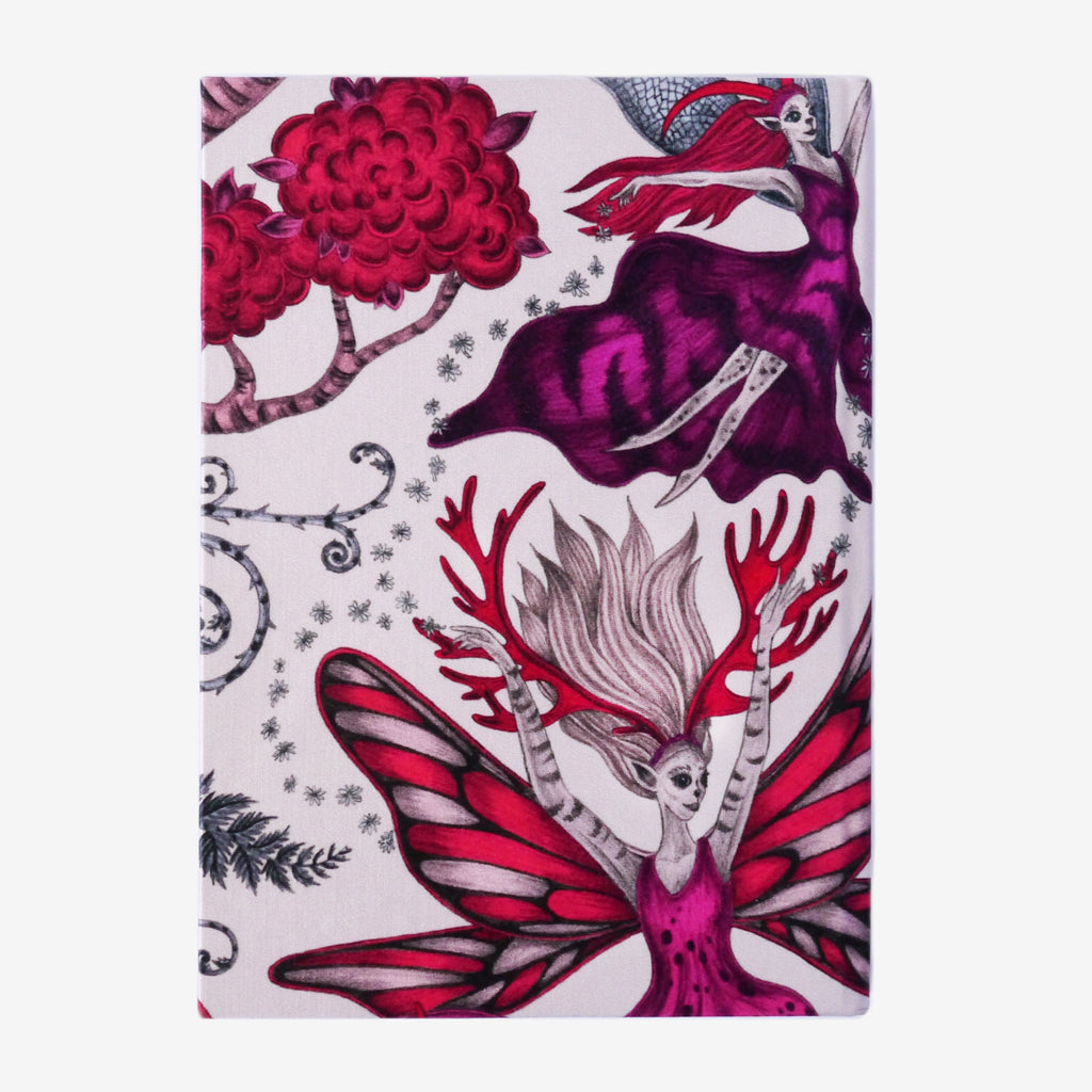 The detailed and imaginative pink Elven Silk Notebook designed by Emma J Shipley