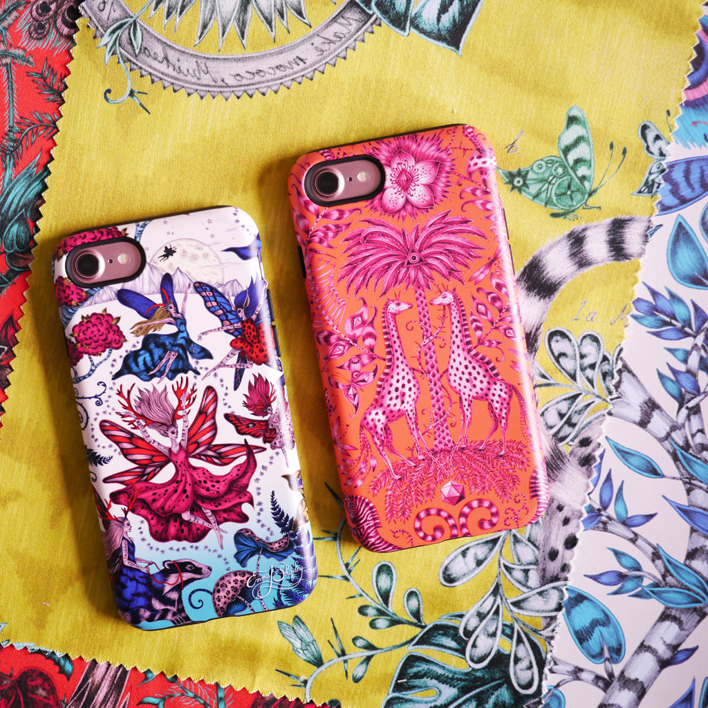 The stunning colourful phone cases designed by Emma J Shipley feature fairies, giraffes and magical creatures in bright, stunning colours