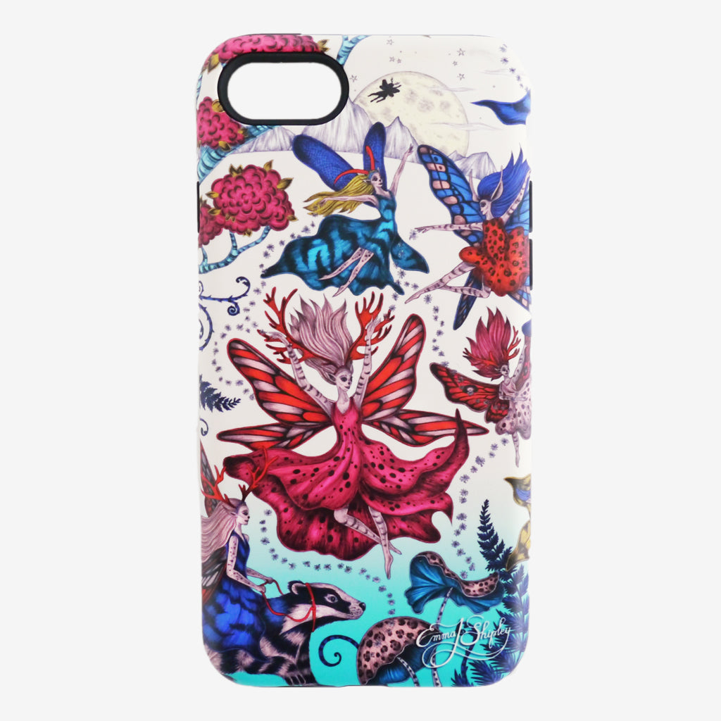 This multi coloured delight is hand drawn by Emma J Shipley - The Elven Phone Case features an array of pixies and fairies in the forest