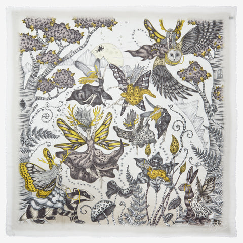 The Elven Modal Blend Scarf in gold designed by Emma J Shipley features an array of fairies and woodland creatures