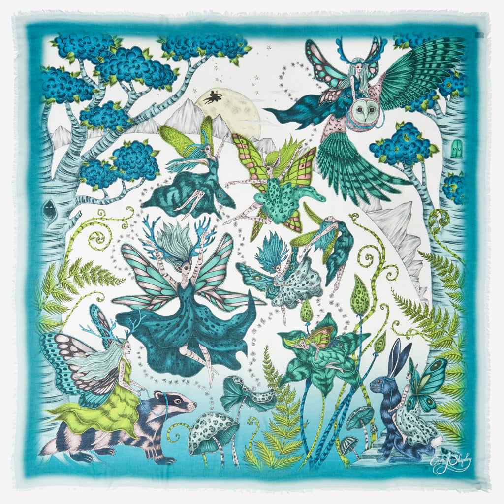The teal Elven Modal Blend Scarf designed by Emma J Shipley