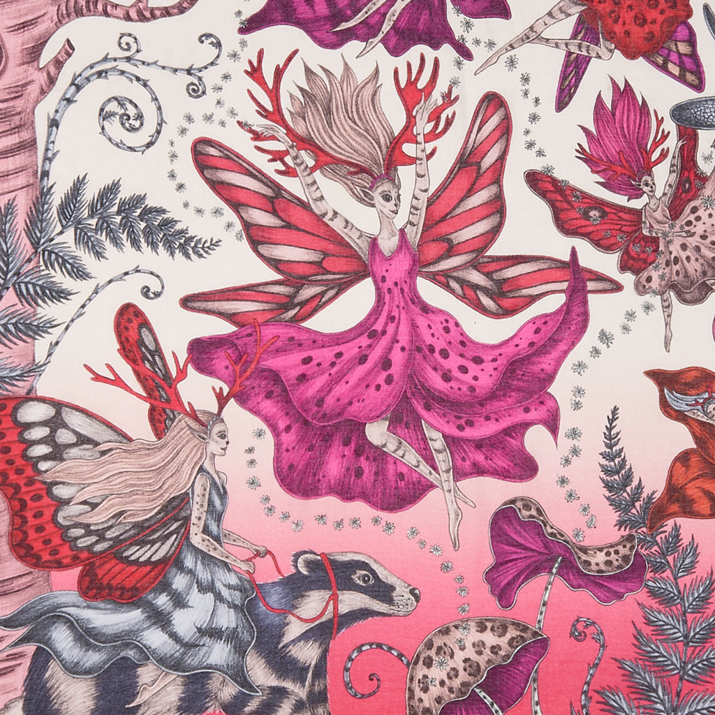 Detail from the prancing pixies in Emma J Shipley's fantastical hand drawn Elven design