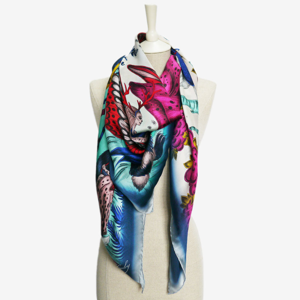 Silk Chiffon Scarf in the Elven design by Emma J Shipley, featuring hand drawn fairies, pixies and forest creatures