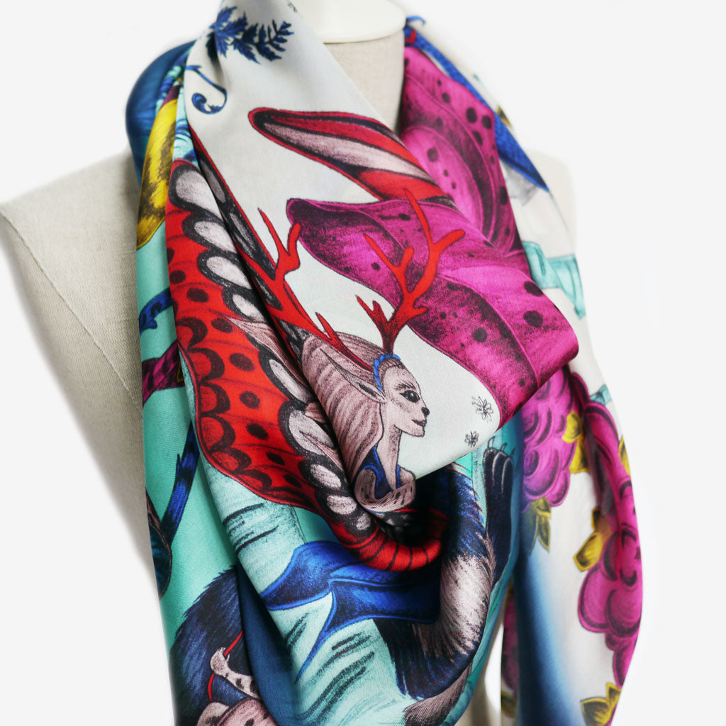 Detail of the fantastically colourful Elven Silk Chiffon Scarf designed by Emma J Shipley