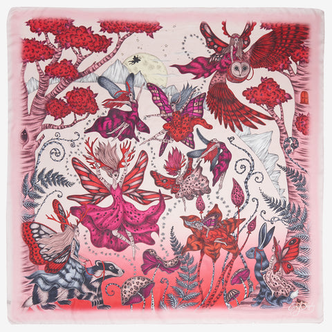 The pink Elven Silk Chiffon Scarf design hand drawn by Emma J Shipley features a group of prancing pixies and woodland creatures