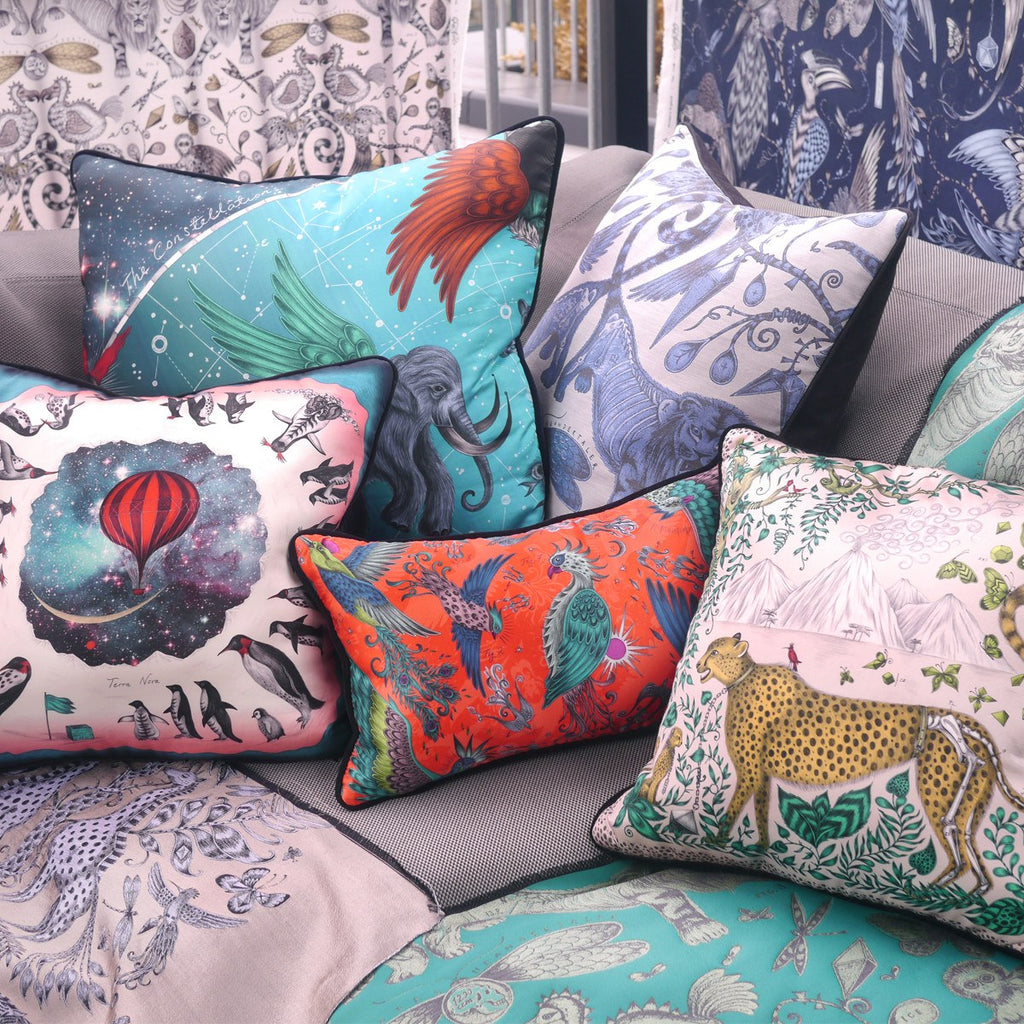 A lifestyle image of Emma J Shipley's luxurious Constellation Cushion, a perfect gift for your home.