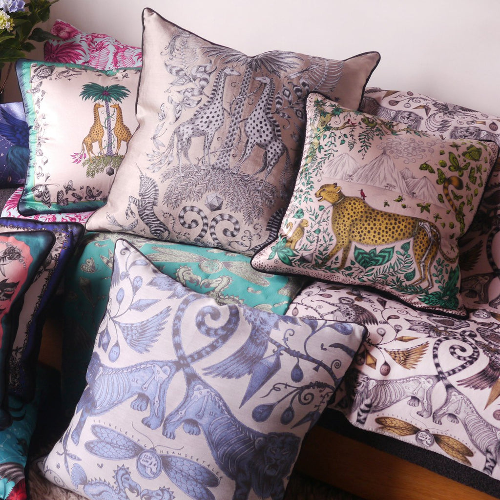 A lifestyle image of Emma J Shipley's luxurious Jacquard Woven Kruger Cushion, the perfect gift for your home.