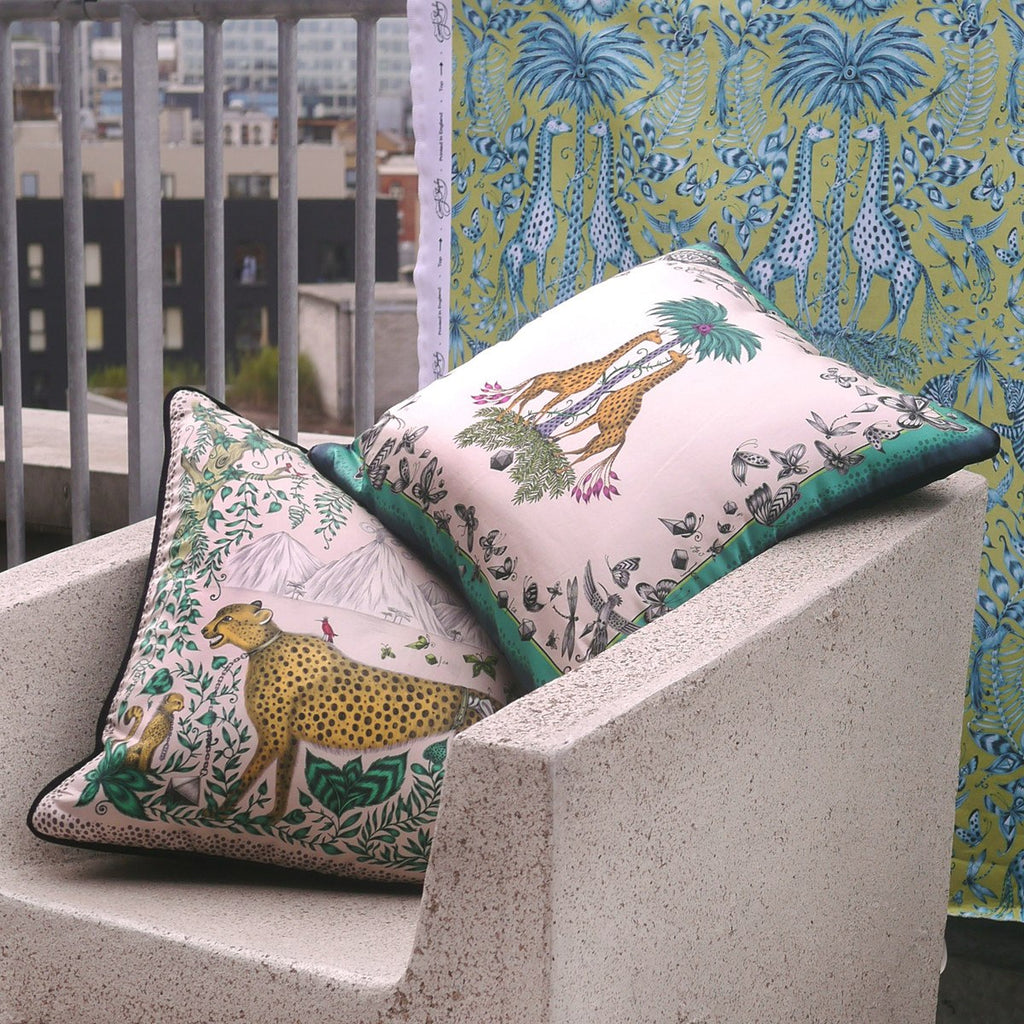 A lifestyle photo of Emma J Shipley's luxurious Printed Cushions, the perfect additions to your home