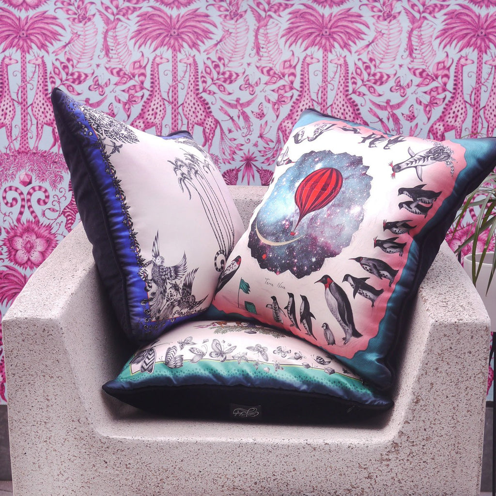 A lifestyle image of Emma J Shipley's luxurious Printed Cushions, the perfect gift for your home.
