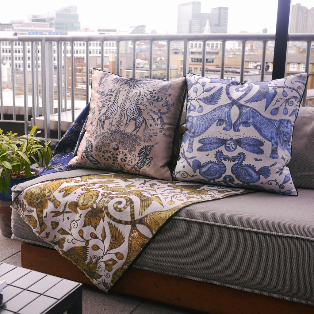 A lifestyle photo of Emma J Shipley's luxurious Jacquard Woven Cushions, the perfect additions to your home