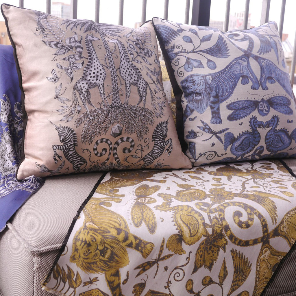 A lifestyle image of Emma J Shipley's luxurious Jacquard Woven Kruger Cushion, a perfect gift for your home.