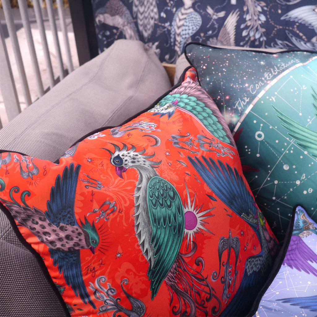 A lifestyle photo of Emma J Shipley's luxurious Phoenix Large Square cushion, the perfect addition to your home
