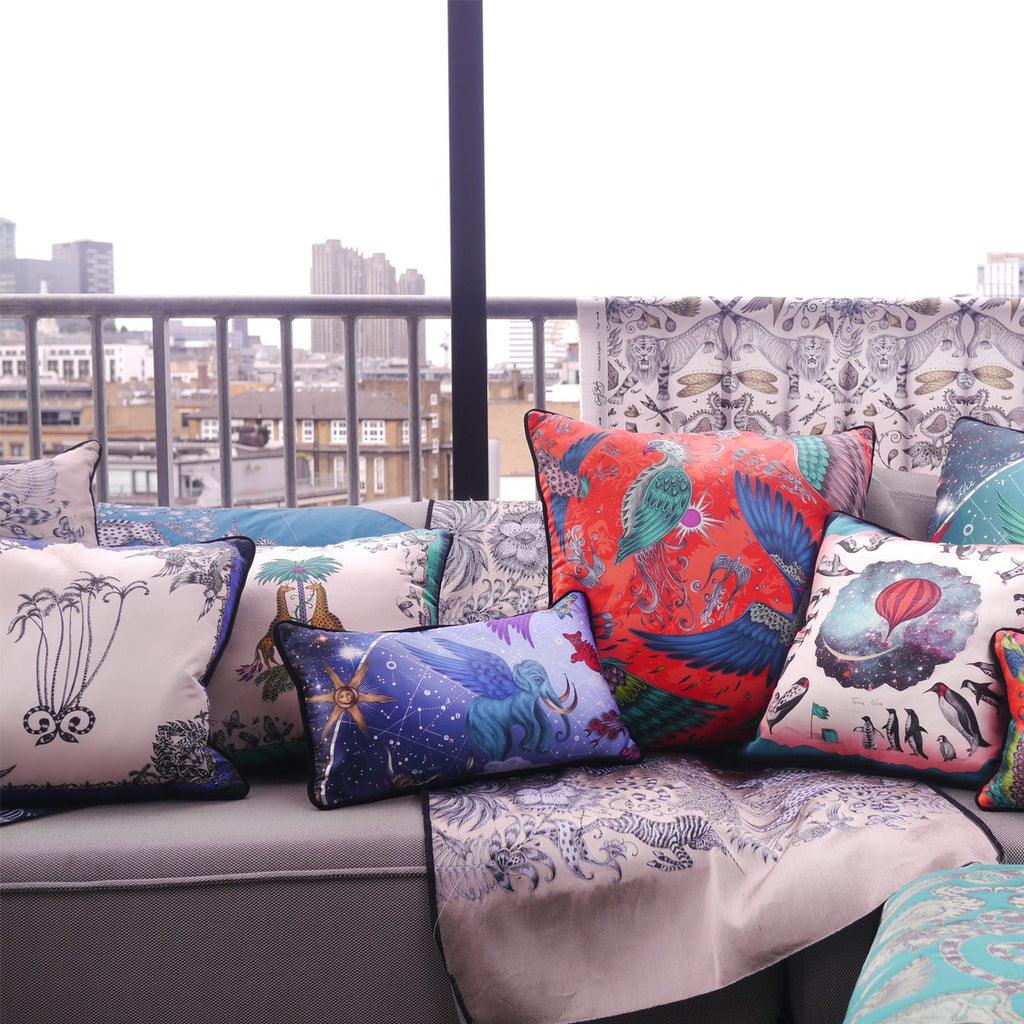A lifestyle photo of Emma J Shipley's luxurious cushion collection, the perfect addition to your home