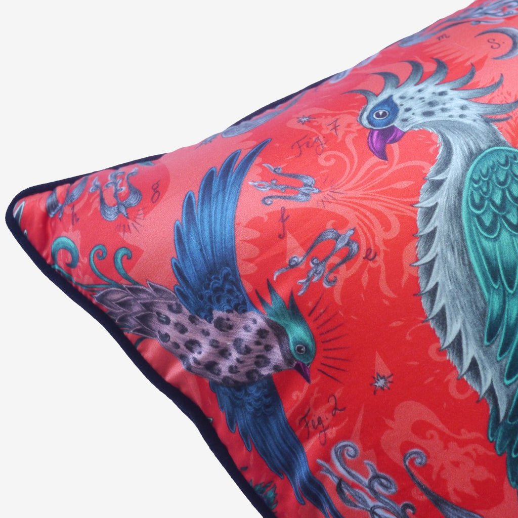 The luxurious black velvet piping on Emma J Shipley's silk and cotton printed Phoenix cushion.