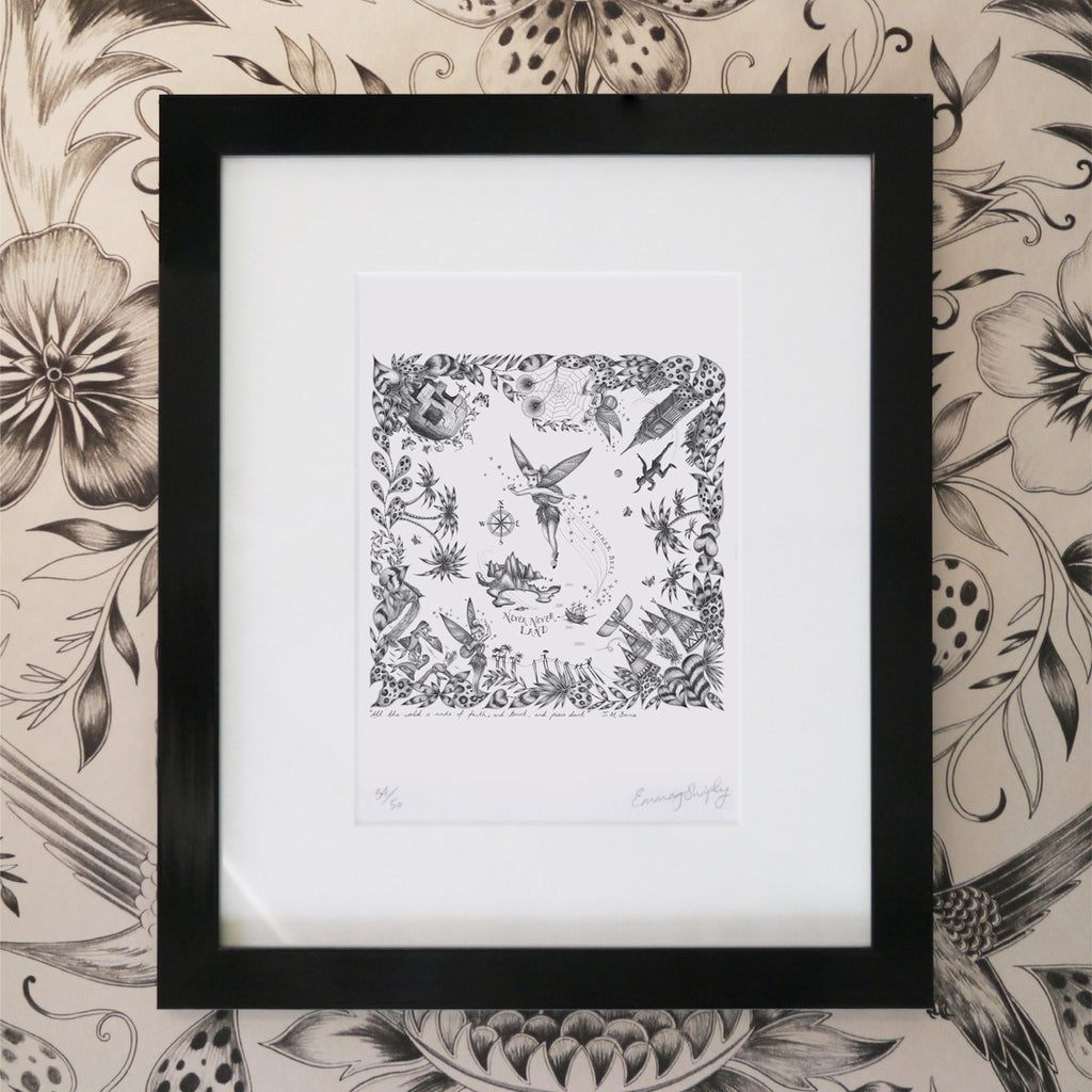 A framed Giclée print of the Tinkerbell drawing, illustrated by Emma J Shipley.