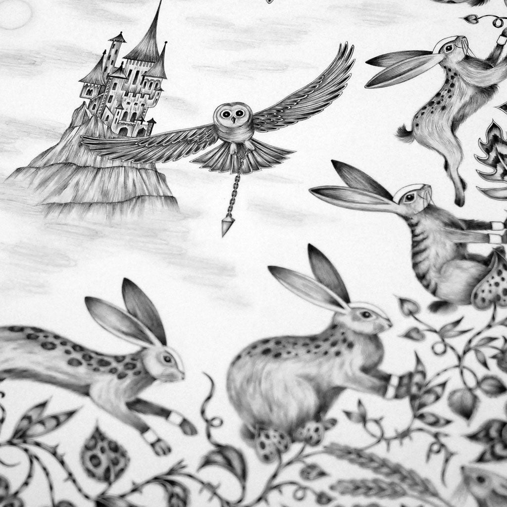 The original hand-drawn illustration of magical rabbits, a swooping owl and a spellbinding castle by Emma J Shipley
